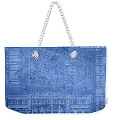 Fenway Park Blueprints Home Of Baseball Team Boston Red Sox On Worn Parchment Weekender Tote Bag by Design Turnpike
