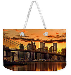 Fiery Sunset Over Manhattan  Weekender Tote Bag by Az Jackson