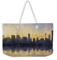 Fire In The Sky Chicago At Sunset Weekender Tote Bag by Scott Norris