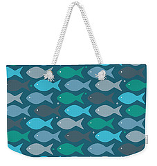 Fish Blue  Weekender Tote Bag by Mark Ashkenazi