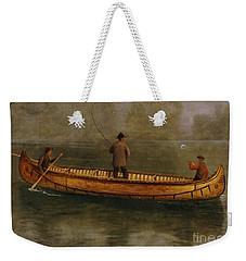 Fishing From A Canoe Weekender Tote Bag by Albert Bierstadt