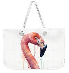 Flamingo Painting Watercolor - Facing Right Weekender Tote Bag by Olga Shvartsur