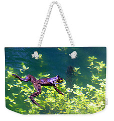 Floating Frog Weekender Tote Bag by Nick Gustafson