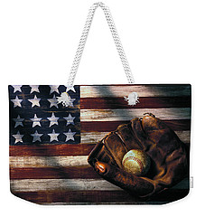 Folk Art American Flag And Baseball Mitt Weekender Tote Bag by Garry Gay