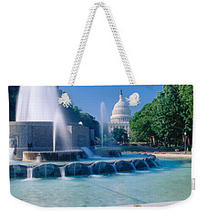 Fountain And Us Capitol Building Weekender Tote Bag by Panoramic Images
