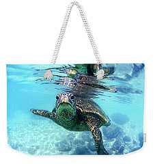 friendly Hawaiian sea turtle  Weekender Tote Bag by Sean Davey