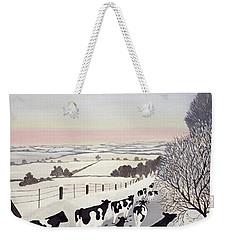 Friesians In Winter Weekender Tote Bag by Maggie Rowe