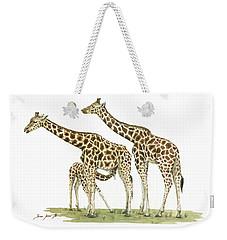 Giraffe Family Weekender Tote Bag by Juan Bosco