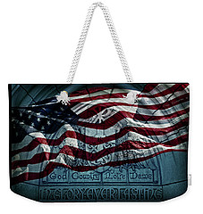 God Country Notre Dame American Flag Weekender Tote Bag by John Stephens
