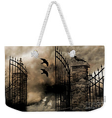Gothic Surreal Fantasy Ravens Gated Fence  Weekender Tote Bag by Kathy Fornal