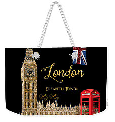 Great Cities London - Big Ben British Phone Booth Weekender Tote Bag by Audrey Jeanne Roberts