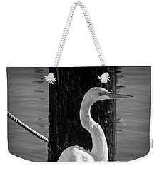 Great White Heron In Black And White Weekender Tote Bag by Garry Gay