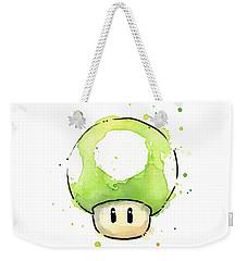 Green 1up Mushroom Weekender Tote Bag by Olga Shvartsur
