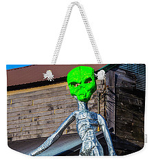 Green Alien Space Creature Weekender Tote Bag by Garry Gay