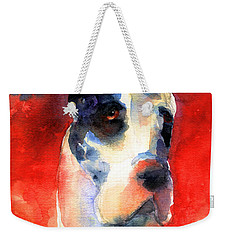Harlequin Great Dane Watercolor Painting Weekender Tote Bag by Svetlana Novikova