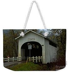 Harris Covered Bridge Wren Oregon Weekender Tote Bag by Adam Jewell