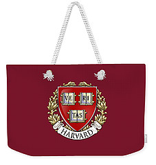 Harvard University Seal - Coat Of Arms Over Colours Weekender Tote Bag by Serge Averbukh
