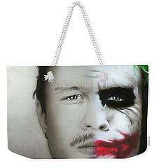 ' Heath Ledger / Joker ' Weekender Tote Bag by Christian Chapman Art