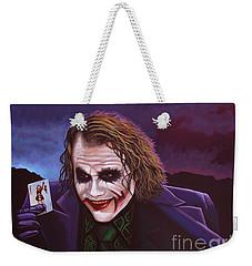 Heath Ledger As The Joker Painting Weekender Tote Bag by Paul Meijering