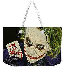 Heath Ledger The Joker Weekender Tote Bag by David Peninger