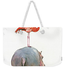 Hippo With Flamingo Weekender Tote Bag by Juan Bosco