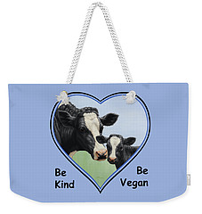 Holstein Cow And Calf Blue Heart Vegan Weekender Tote Bag by Crista Forest