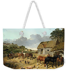 Horses Drinking From A Water Trough, With Pigs And Chickens In A Farmyard Weekender Tote Bag by John Frederick Herring Jr