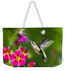 Hummingbird With Flower Weekender Tote Bag by Christina Rollo