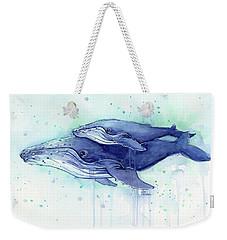 Humpback Whale Mom And Baby Watercolor Weekender Tote Bag by Olga Shvartsur