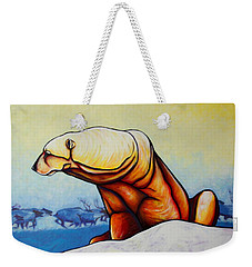 Hunger Burns - Polar Bear And Caribou Weekender Tote Bag by Joe  Triano