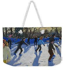 Ice Skaters At Christmas Fayre In Hyde Park  London Weekender Tote Bag by Andrew Macara
