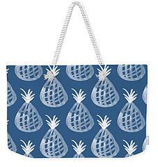 Indigo Pineapple Party Weekender Tote Bag by Linda Woods