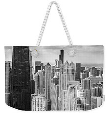 John Hancock Building In The Gold Coast Black And White Weekender Tote Bag by Adam Romanowicz