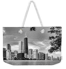 John Hancock Chicago Skyline Panorama Black And White Weekender Tote Bag by Christopher Arndt