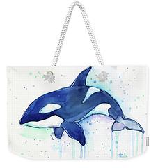 Kiler Whale Watercolor Orca  Weekender Tote Bag by Olga Shvartsur