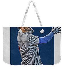 Kris Bryant Chicago Cubs Art 3 Weekender Tote Bag by Joe Hamilton