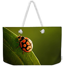 Ladybug  On Green Leaf Weekender Tote Bag by Johan Swanepoel