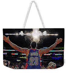 Lebron James Chalk Toss Basketball Art Landscape Painting Weekender Tote Bag by Andres Ramos