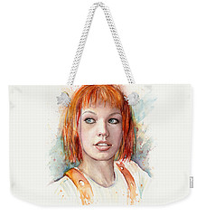 Leeloo Portrait Multipass The Fifth Element Weekender Tote Bag by Olga Shvartsur