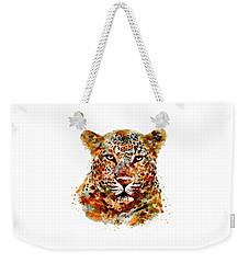 Leopard Head Watercolor Weekender Tote Bag by Marian Voicu