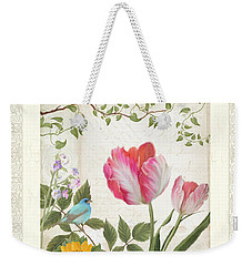 Les Magnifiques Fleurs I - Magnificent Garden Flowers Parrot Tulips N Indigo Bunting Songbird Weekender Tote Bag by Audrey Jeanne Roberts