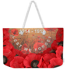 Weekender Tote Bag featuring the photograph Lest We Forget - 1914-1918 by Travel Pics