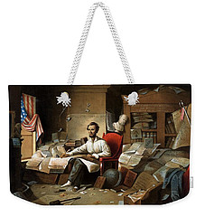 Lincoln Writing The Emancipation Proclamation Weekender Tote Bag by War Is Hell Store