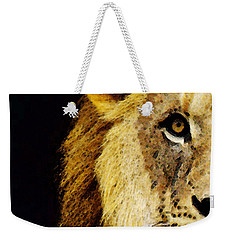 Lion Art - Face Off Weekender Tote Bag by Sharon Cummings