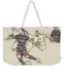 Lionel Messi Scores A Penalty Kick Against Levante  Weekender Tote Bag by Don Kuing