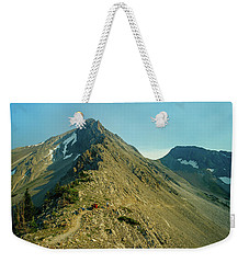 Llama Packer Hiking A Steep Rocky Mountain Peak Trail Weekender Tote Bag by Jerry Voss