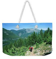 Lone Llama Packer In Gorgeous Mountain Wilderness Weekender Tote Bag by Jerry Voss