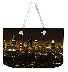 Los Angeles At Night Panorama 2 Weekender Tote Bag by Bob Christopher