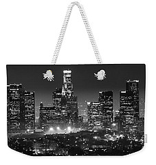 Los Angeles At Night Panorama 3 Weekender Tote Bag by Bob Christopher