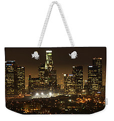 Los Angeles At Night Panorama 4 Weekender Tote Bag by Bob Christopher